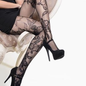 Fancy Floral Fishnet Tights